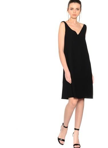 Beymen Studio Askılı V Yaka Kısa Elbise Siyah